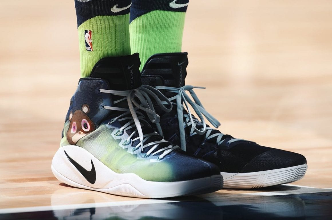 35f7c89184e5 Minnesota Timberwolves  Karl-Anthony Towns hit the court wearing custom  Nike Hyperdunk kicks that paid homage to Kanye s Graduation album.